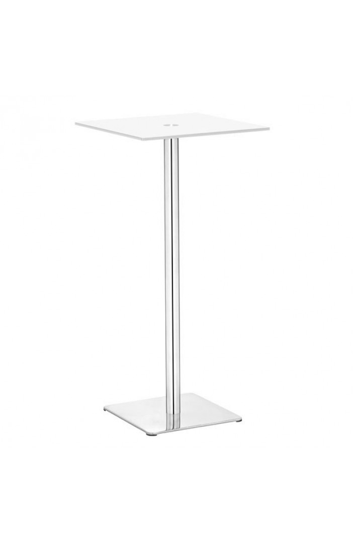 Square Glass Bar Table Modern Furniture Brickell Collection - White square pedestal table