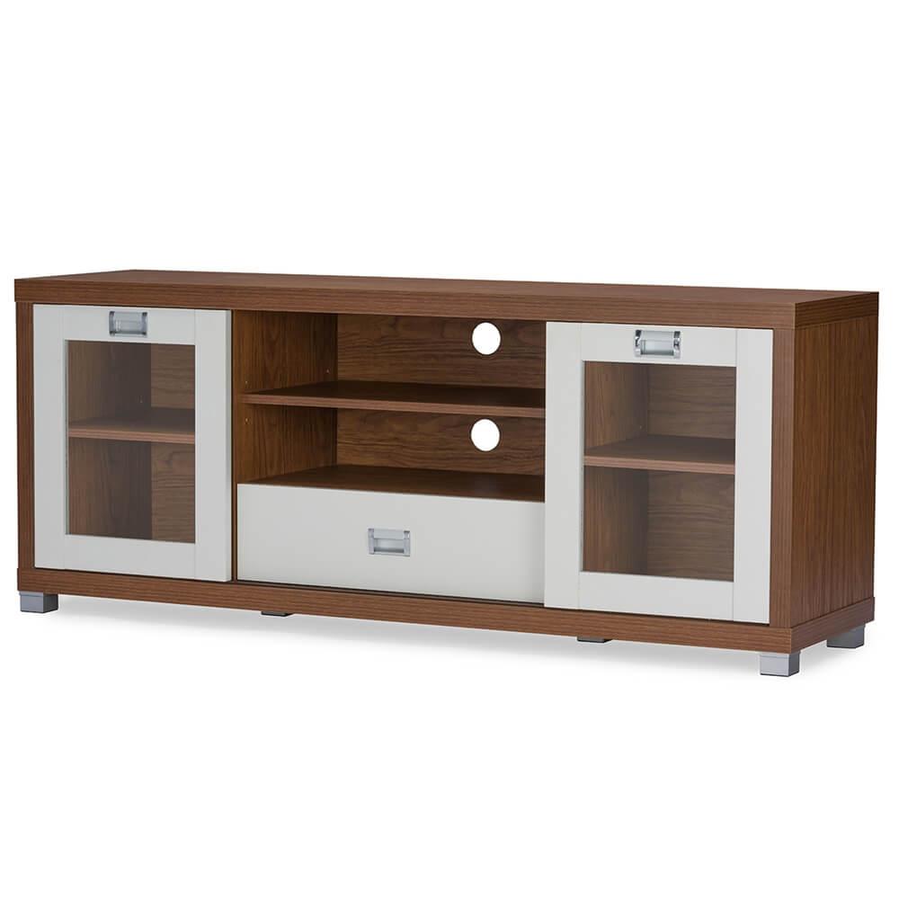 Apt Walnut Wood White tv stand