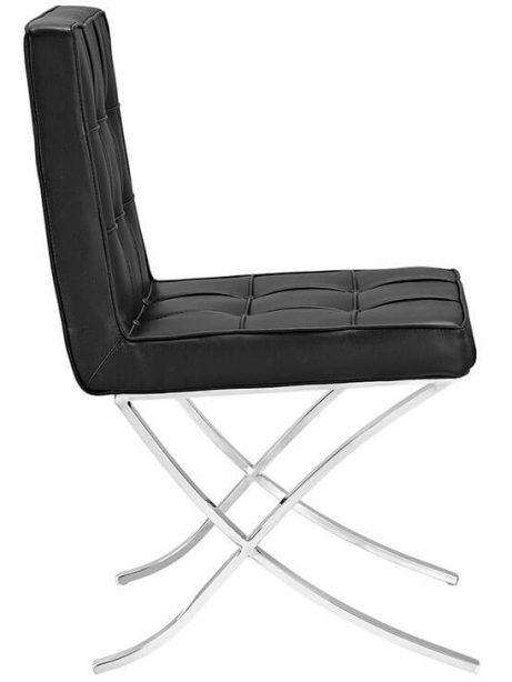 contemporary chrome x chair black leather 2 461x614