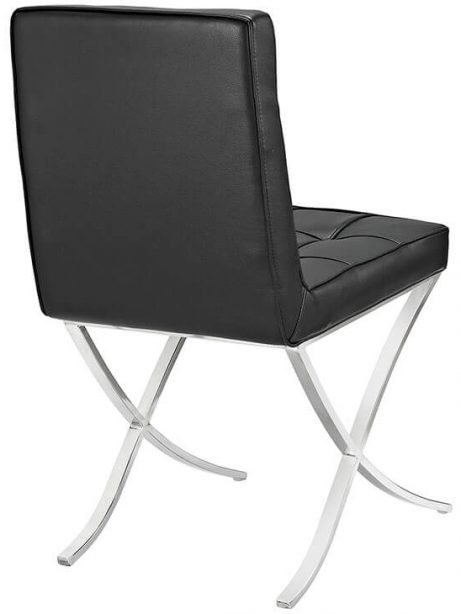 contemporary chrome x chair black leather 3 461x614