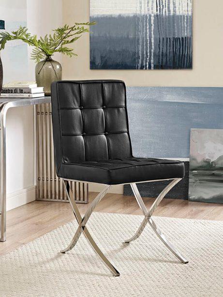 contemporary chrome x chair black leather 461x614