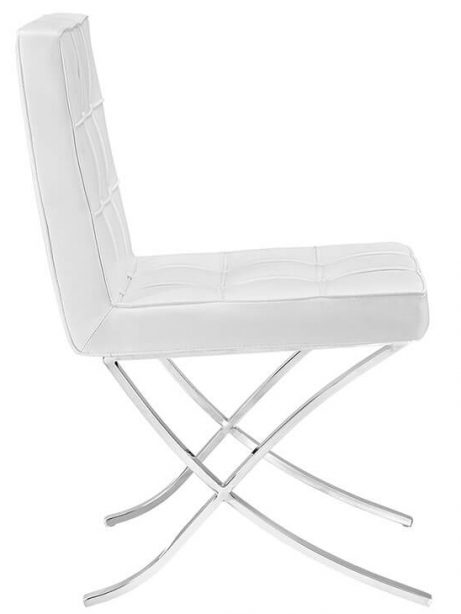 contemporary chrome x chair white leather 2 461x614