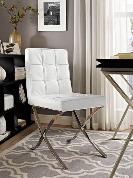 contemporary chrome x chair white leather 4 461x614