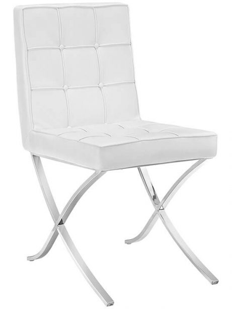 contemporary chrome x chair white leather 461x614