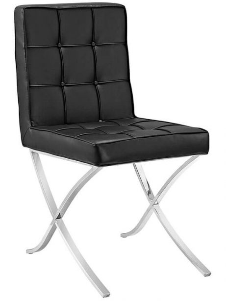 contemporary leather chrome chair 461x614