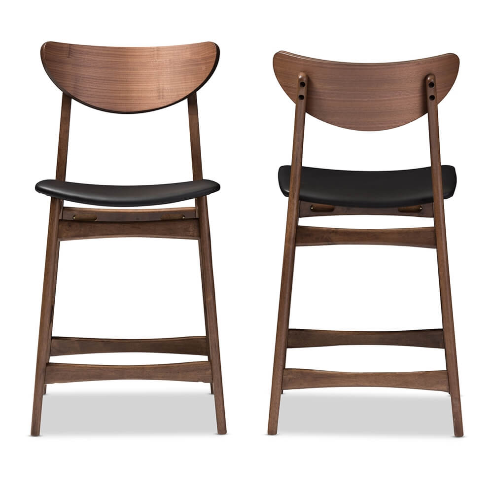 scandinavia wood barstool black leather