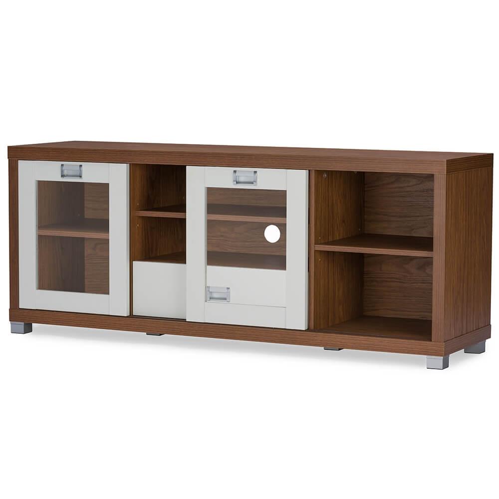 walnut wood white media stand