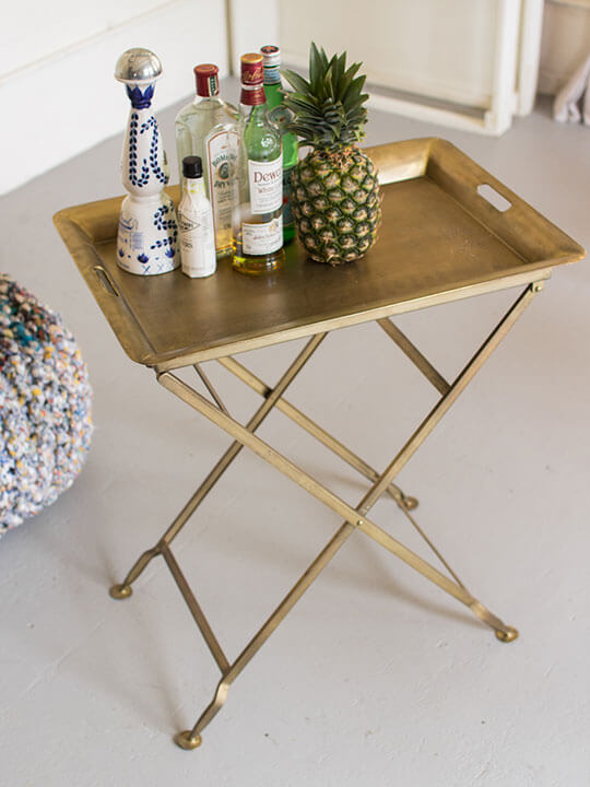 Antique Brass Folding Tray Table