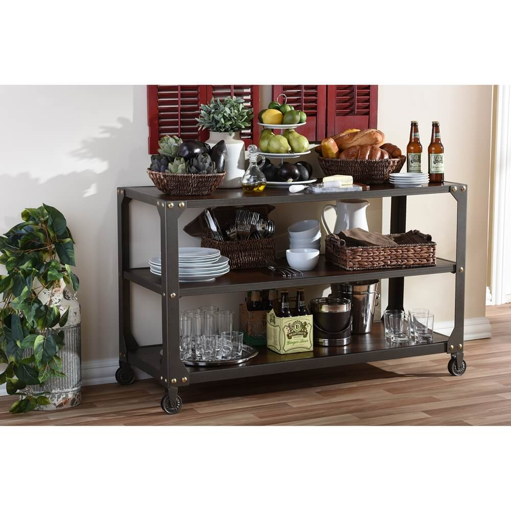 Bronze metal rolling console table 4