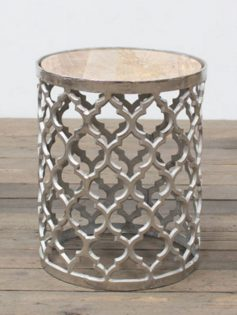Chrome Lattice Side Table Gold Marble Top 237x315