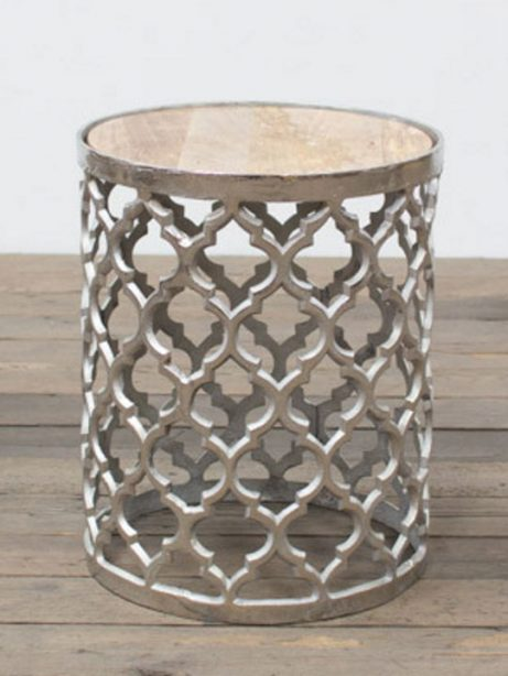 Chrome Lattice Side Table Gold Marble Top 461x614