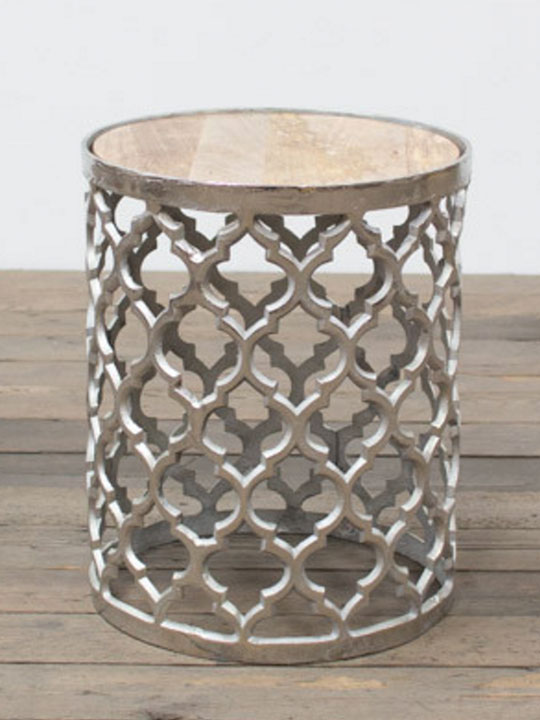 Chrome Lattice Side Table Gold Marble Top