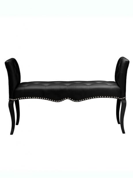 Nailhead tufted leather bench 461x614