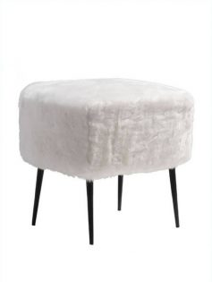 White Faux Fur Mid Century Stool 237x315