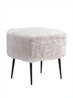 White Faux Fur Mid Century Stool 237x315