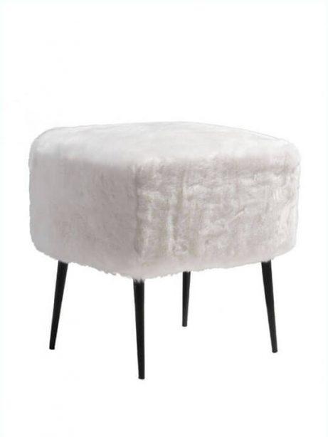 White Faux Fur Mid Century Stool 461x614
