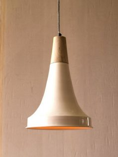 White Wood Bell Pendant Light  237x315