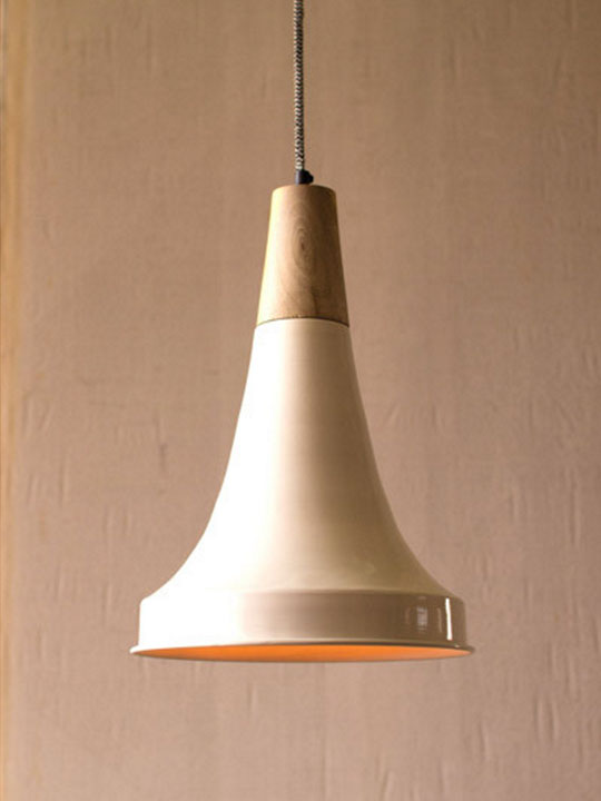White Wood Bell Pendant Light
