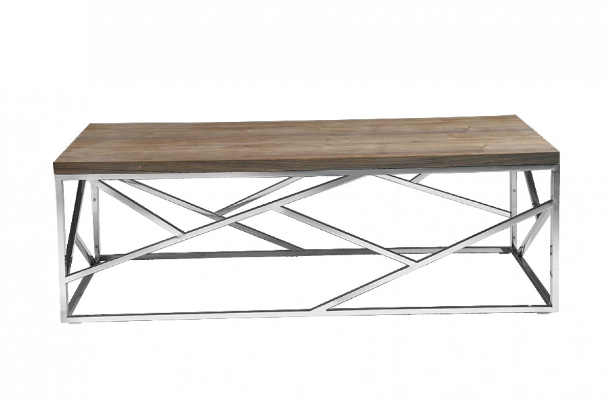 aero chrome wood coffee table 2