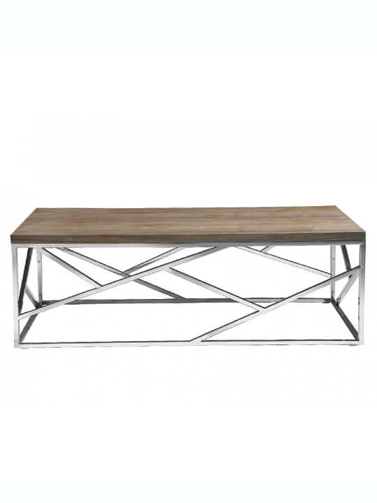 aero chrome wood coffee table