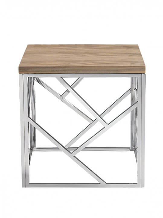 Aero chrome wood side table modern furniture brickell