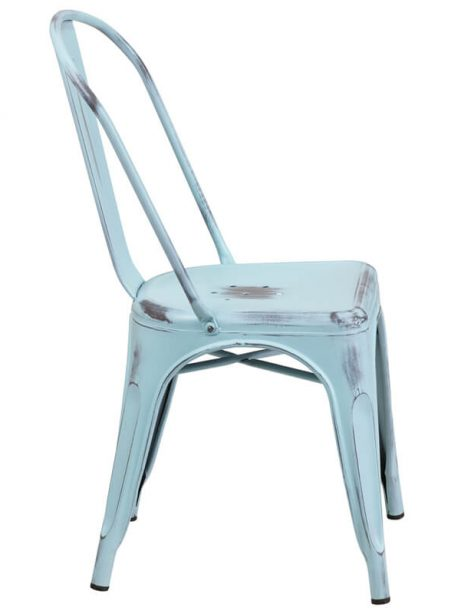 distressed light blue metal chair 461x614