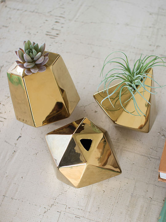 gold geometric vase set