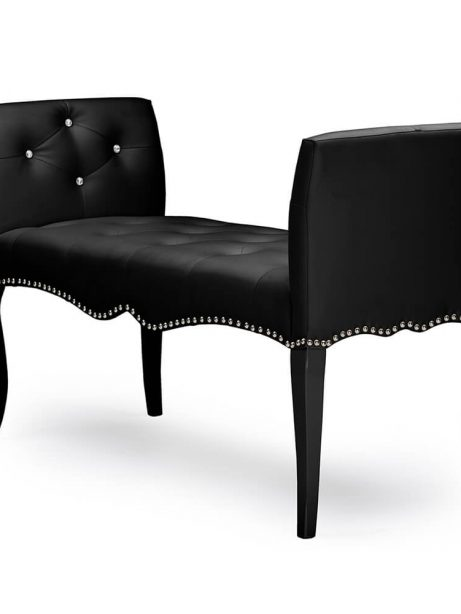 nailhead tufted black leather bench 2 461x614