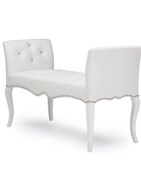 nailhead tufted white leather bench 3 461x614