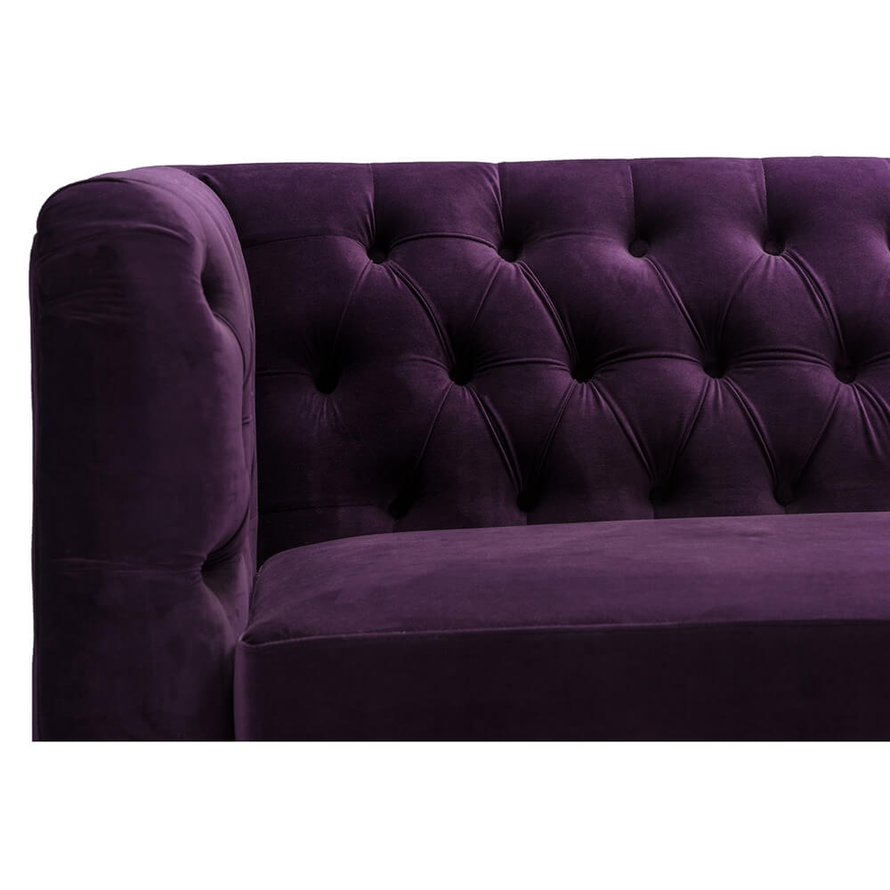 Purple Velvet Tufted Sofa 5