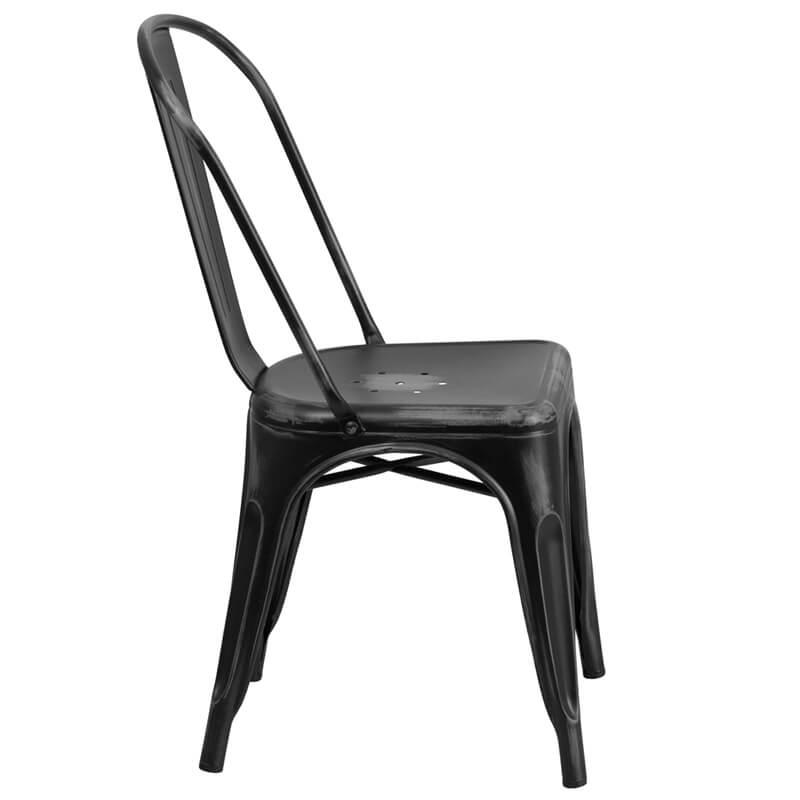 tonic distressed black metal indoor stackable chair 3