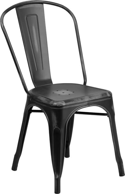 tonic distressed black metal indoor stackable chair 4