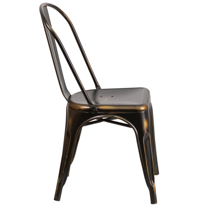 distressed metal furniture.  Metal Tonic Distressed Copper Metal Indoor Stackable Chair 2 For Distressed Metal Furniture
