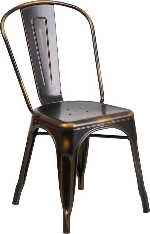 tonic distressed copper metal indoor stackable chair 3