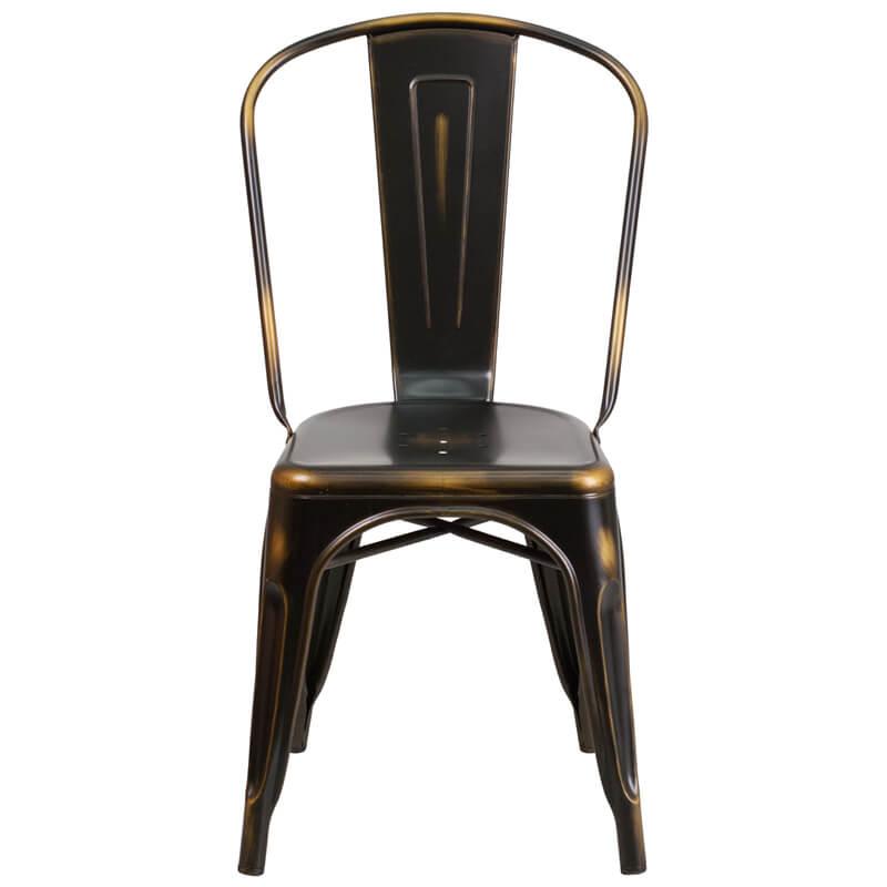 tonic distressed copper metal indoor stackable chair 4