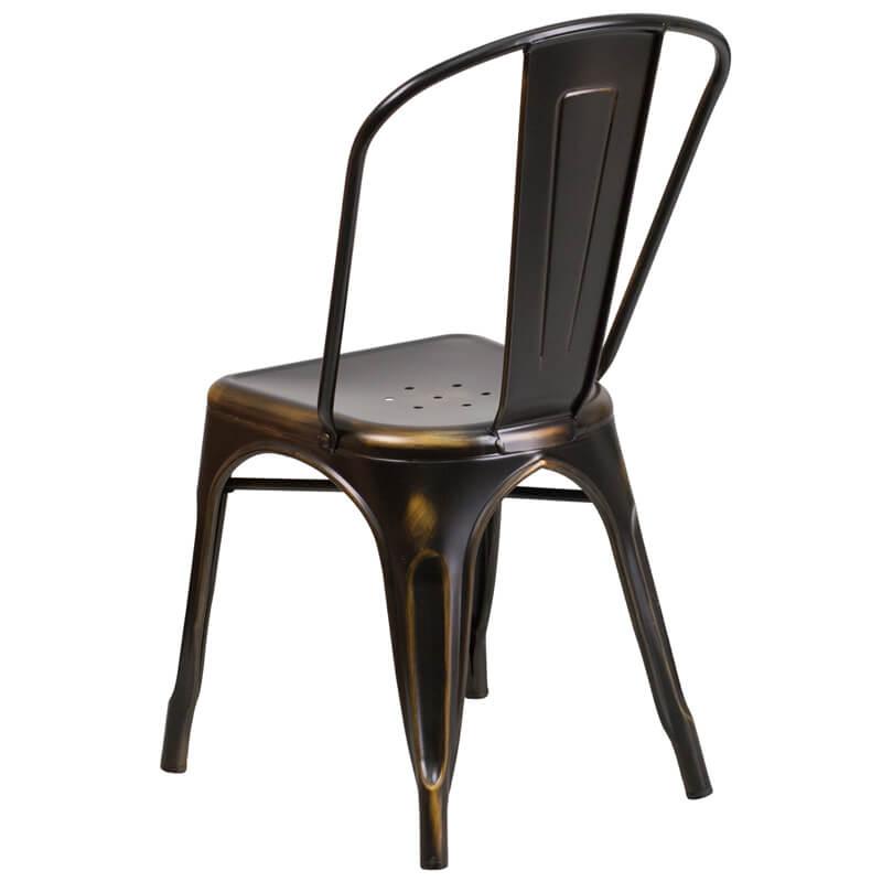 tonic distressed copper metal indoor stackable chair