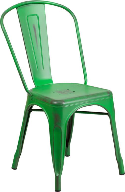 tonic distressed green metal indoor stackable chair 4