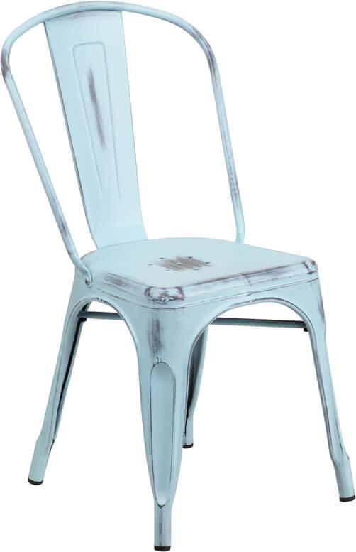 tonic distressed light blue metal indoor stackable chair 3