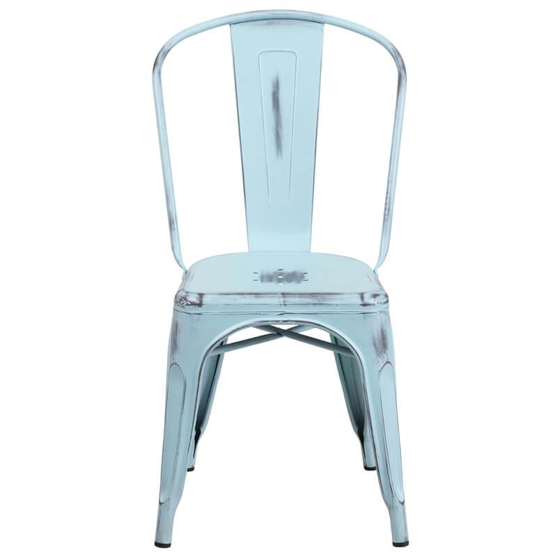 tonic distressed light blue metal indoor stackable chair