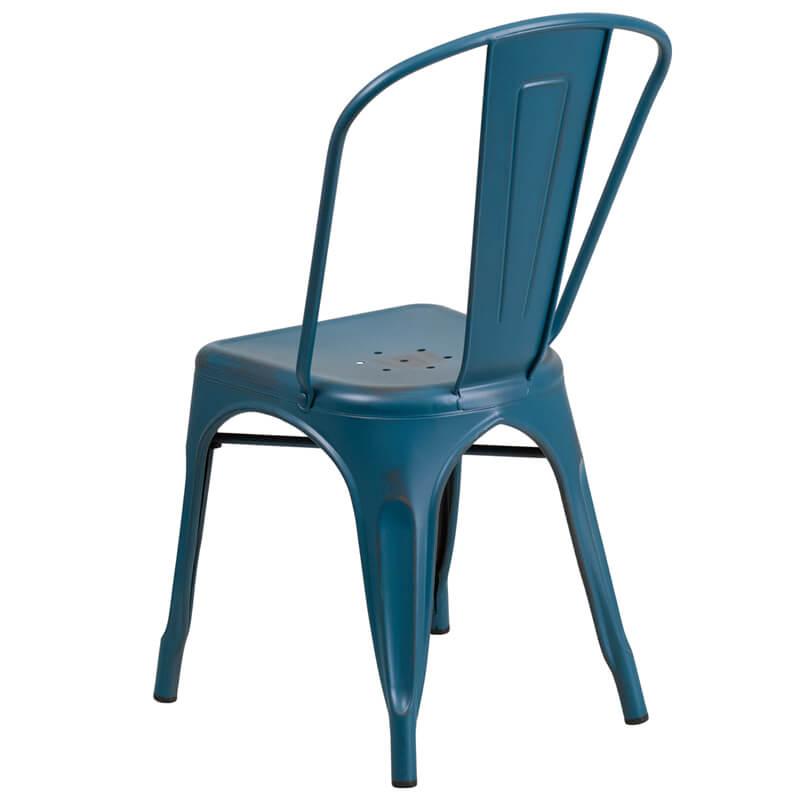 tonic distressed navy blue metal indoor stackable chair 2
