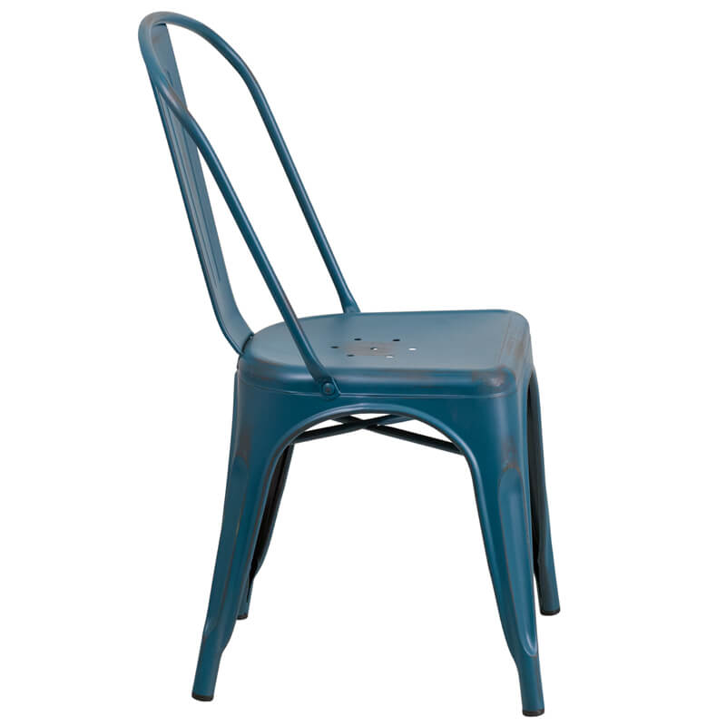 tonic distressed navy blue metal indoor stackable chair 3