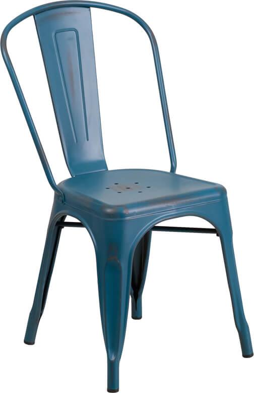 tonic distressed navy blue metal indoor stackable chair 4