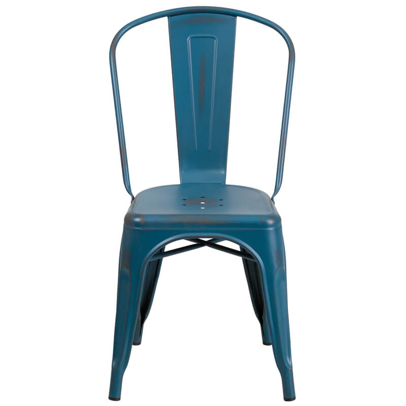 Tonic Distressed Navy Blue Metal Indoor Stackable Chair