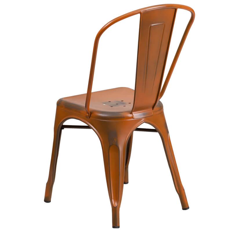 tonic distressed orange metal indoor stackable chair 4