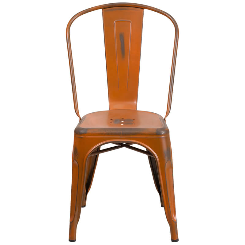 Tonic Distressed Orange Metal Indoor Stackable Chair