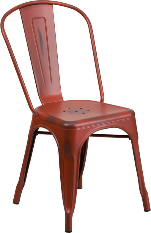 tonic distressed red metal indoor stackable chair 3