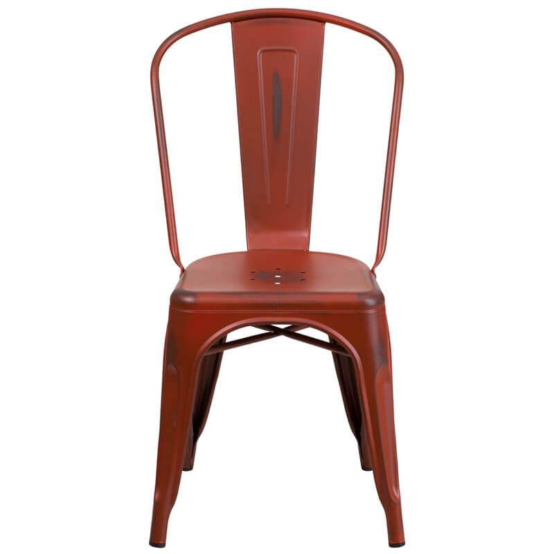 tonic distressed red metal indoor stackable chair 4