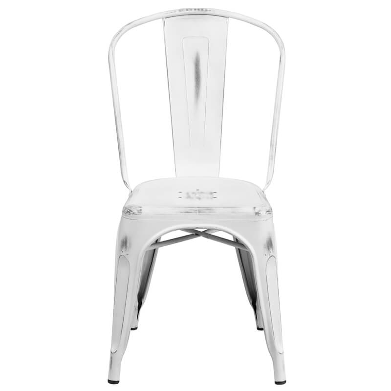 tonic distressed white metal indoor stackable chair