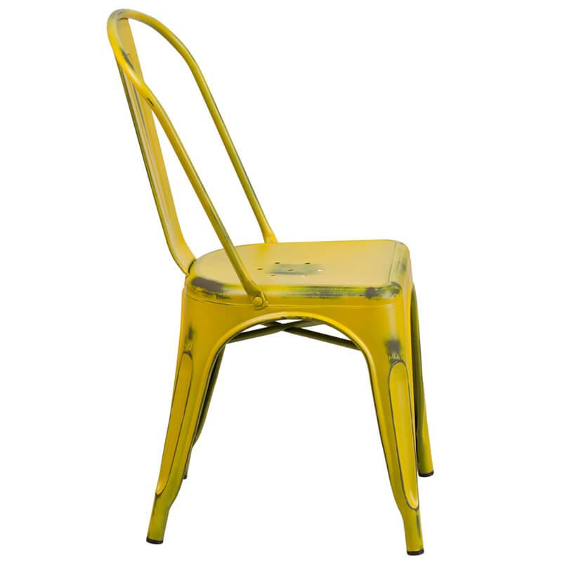 tonic distressed yellow metal indoor stackable chair 2