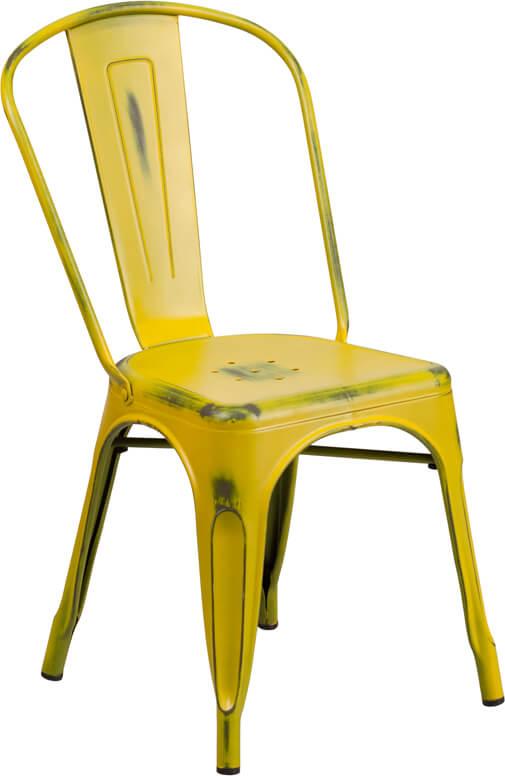 tonic distressed yellow metal indoor stackable chair 3